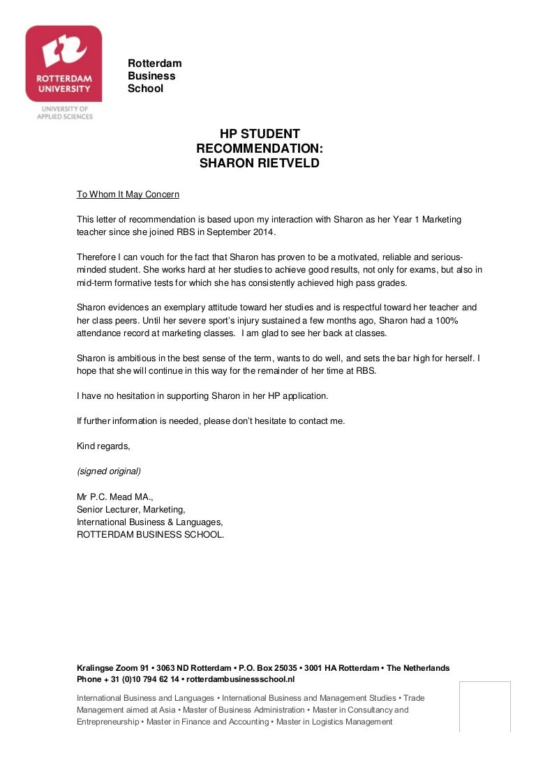 Recommendation letter hp sharon rietveld spiritdancerdesigns Images