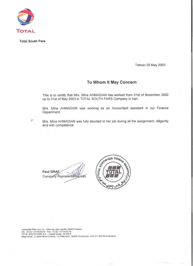 Recommendation Letter from Total