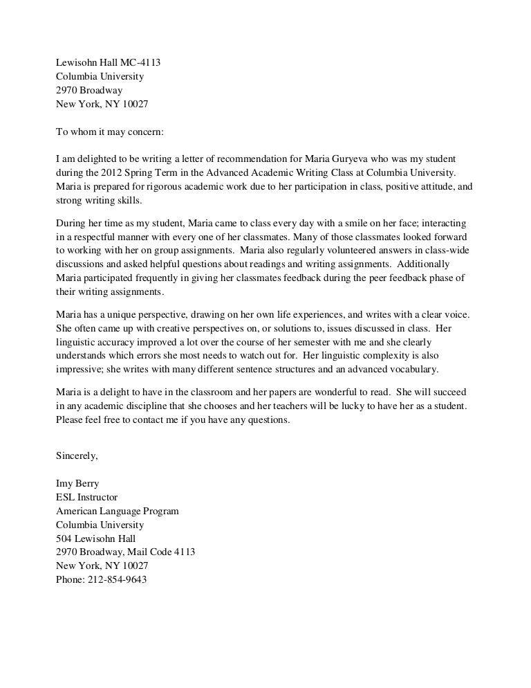 Columbia Acceptance Letter.Columbia University Letter Of Recommendation Major