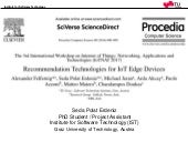 Recommendation Technologies for IoT Edge Devices