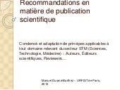 Recommandations en matiere de publication scientifique