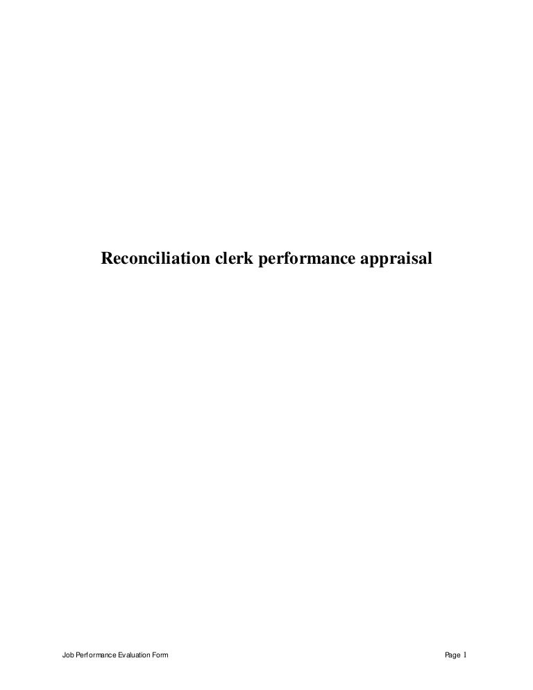 Reconciliation Clerk Performance Appraisal