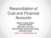 Reconciliation of cost and financial accounts
