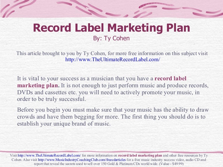 Record Label Marketing Plan - Record label business plan template free