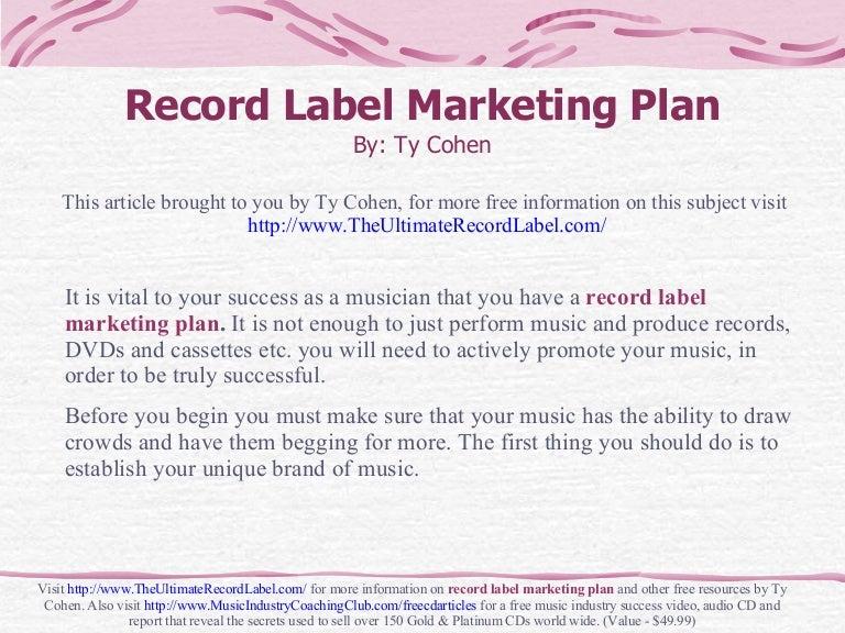 Record Label Marketing Plan
