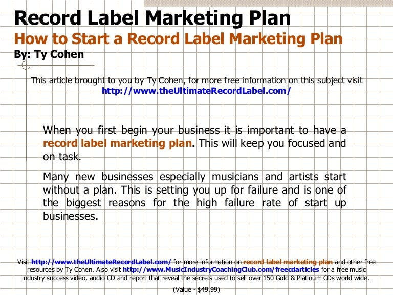 Independent Record Label Business Plan Template