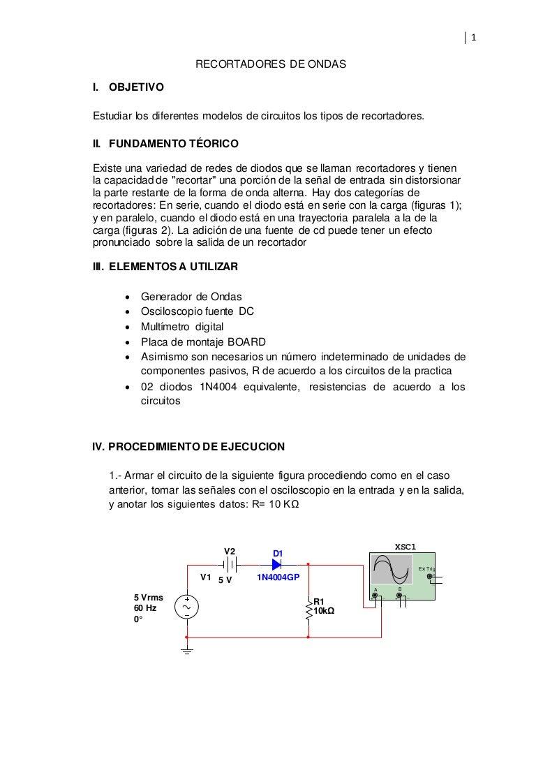 Circuito Recortador : Recortadores de ondas