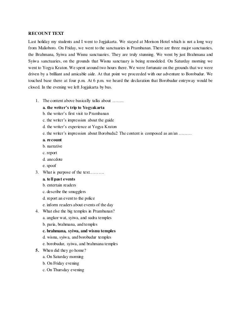 contoh soal essay recount text dan jawaban