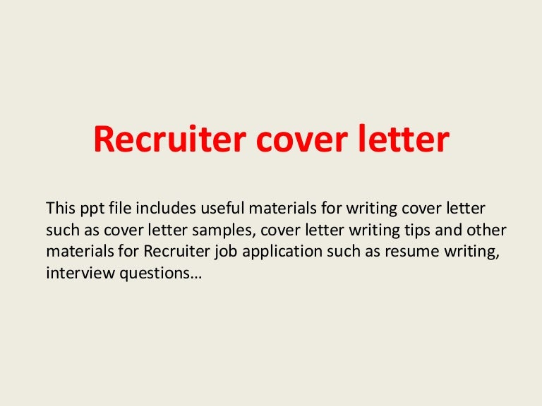 cover letters to recruiters