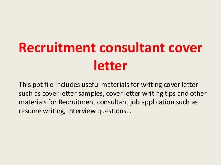 recruitment consultant cover letter sample