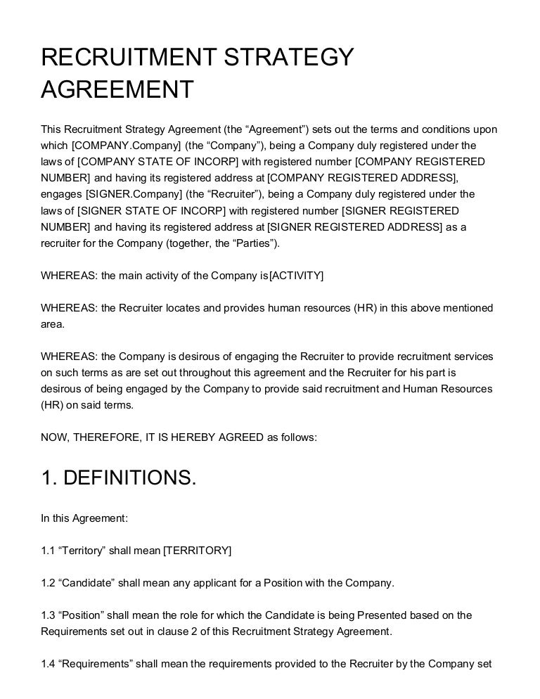 Recruitment Strategy Agreement