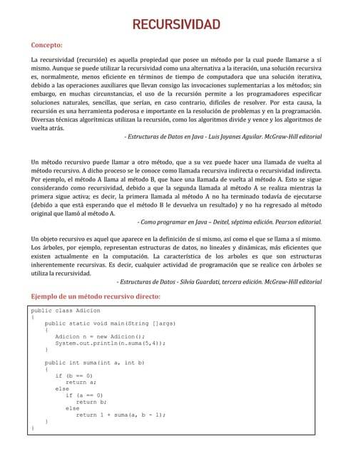 Recursividad en java pdf