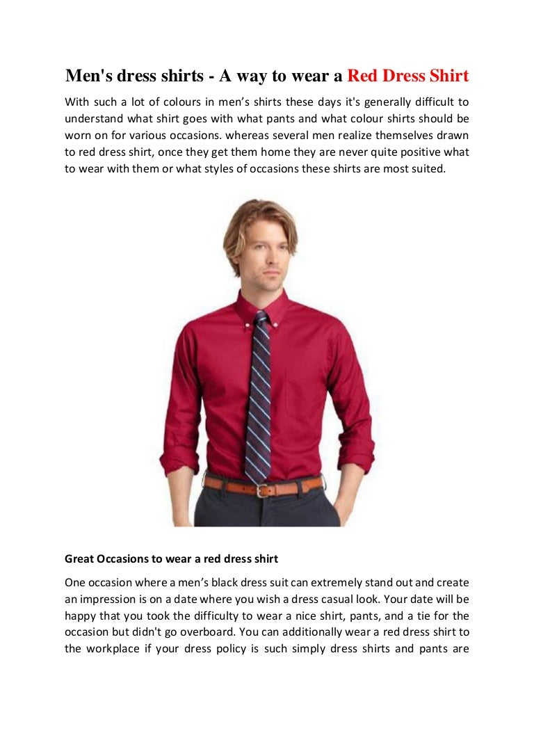 What Goes With Red men's dress shirts - a way to wear a red dress shirt