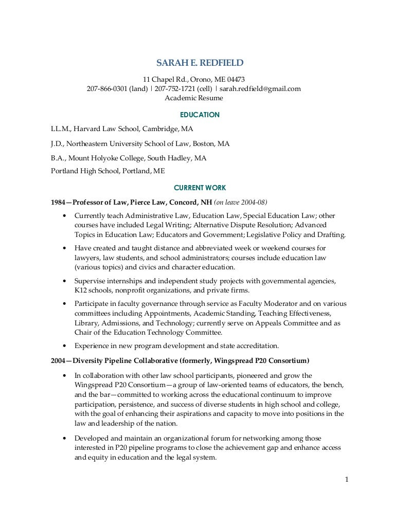 Redfield Academic Resume