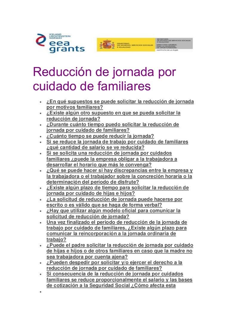 Reducción de jornada por cuidado de familiares