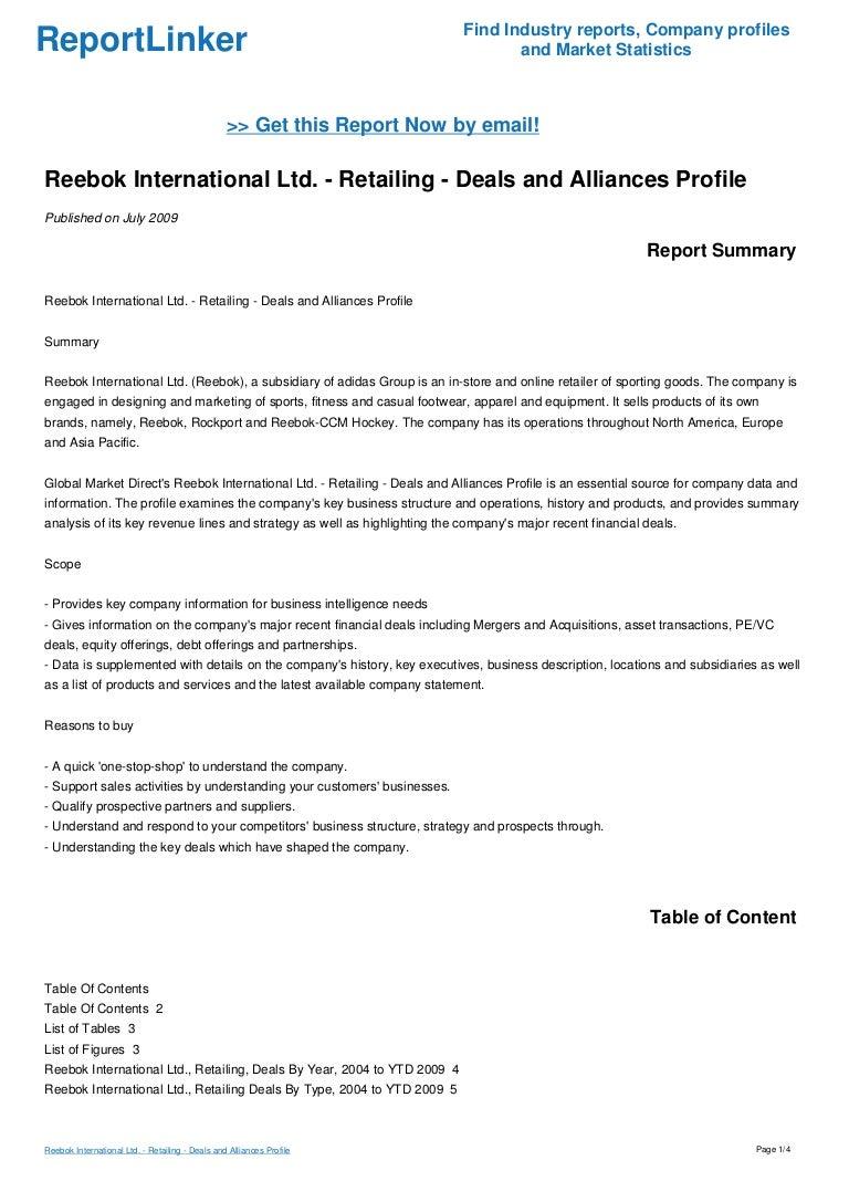 Reebok International Ltd. - Retailing - Deals and Alliances Profile e3fa3303d