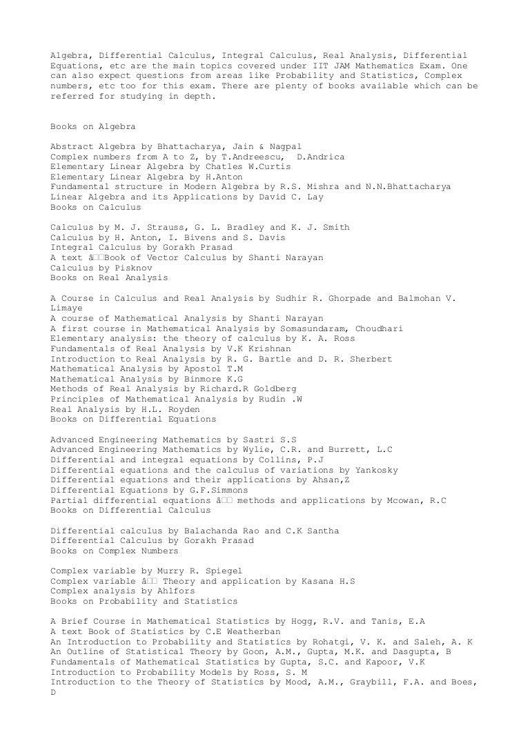 Reference books for iit jam mathematics exam