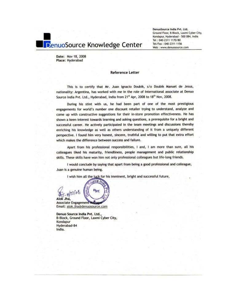 reference letter - project manager
