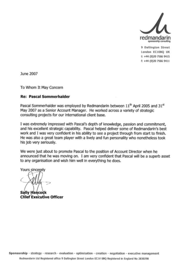 Reference Letter Ceo Redmandarin