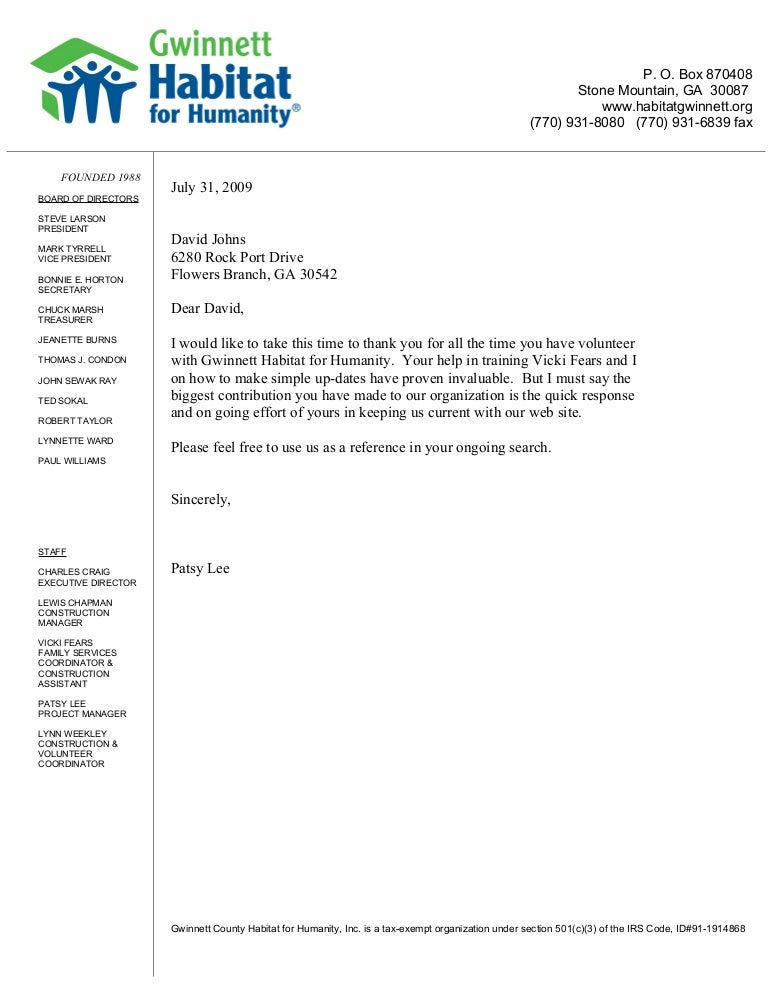 Reference Letter: Habitat for Humanity