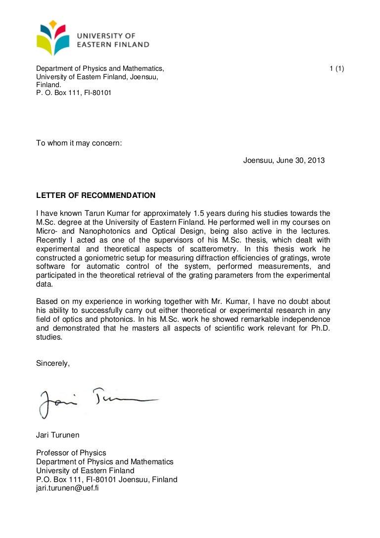 recommendation letter jari turunen
