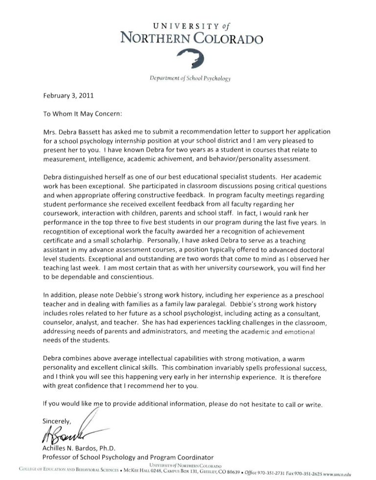letter of recommendation for internship reference letters 53670