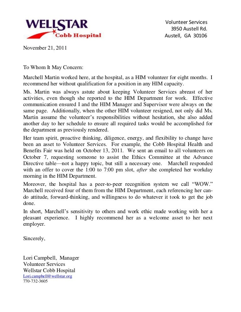 letter of recommendation for volunteer