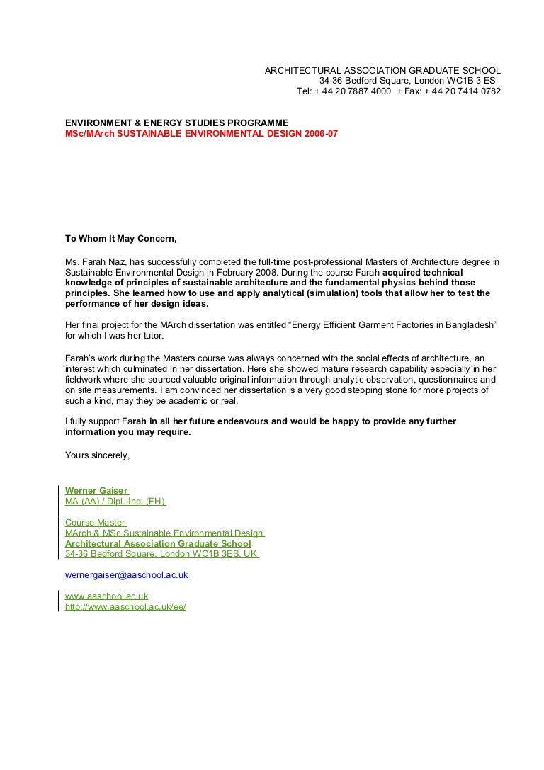 reference letter werner