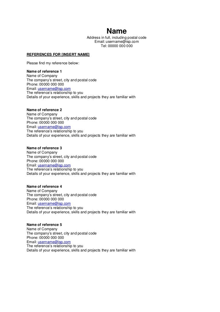 ... 95 Resume Reference List Proposal Sample Reference List ...