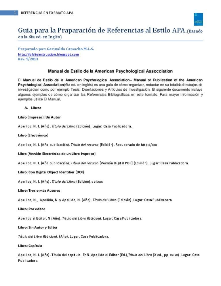 Referencias al Estilo APA (6a ed. ingles) (3ra ed en espanol).biblio.…