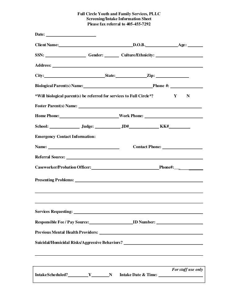 Referral screening, intake form