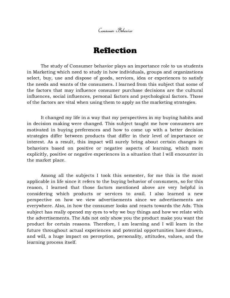 self reflective letter example