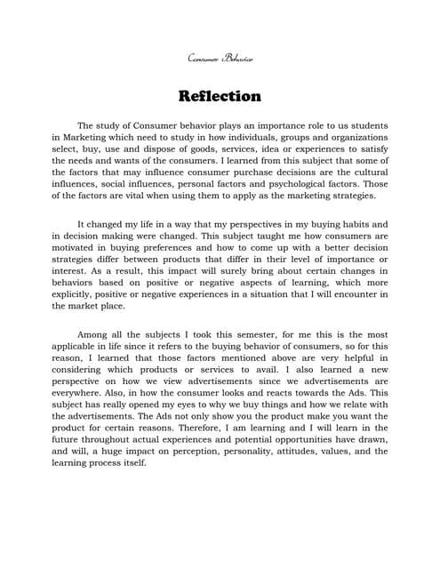 entrepreneurship reflection paper