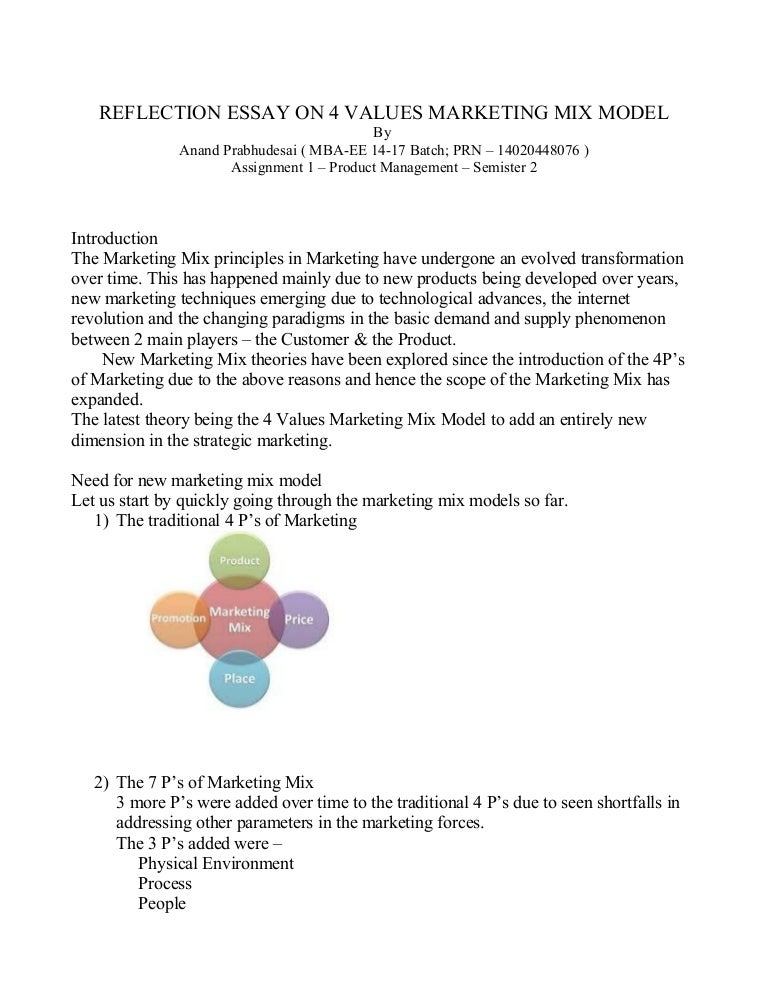 reflection essay- 4 v marketing mix