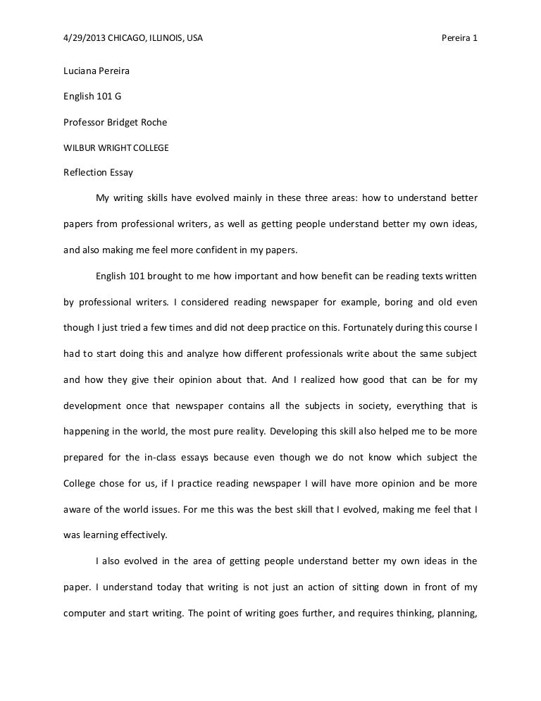First semester reflection essay for english 101