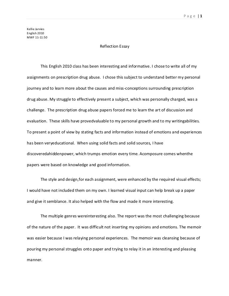 Reflective Essay Introduction Example Of Illustration Paragraph