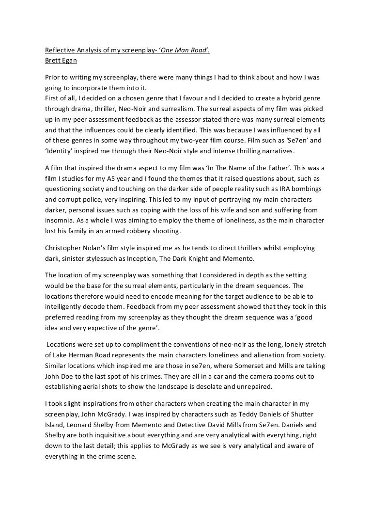 reflective analysis of my screenplay