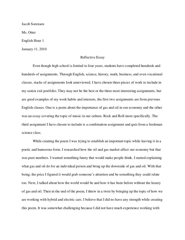 one giant problem with writing a reflective essay is how it should look and the format