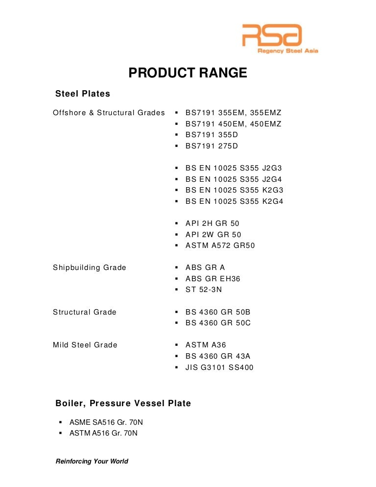 Regency Steel Asia Product Catalogue