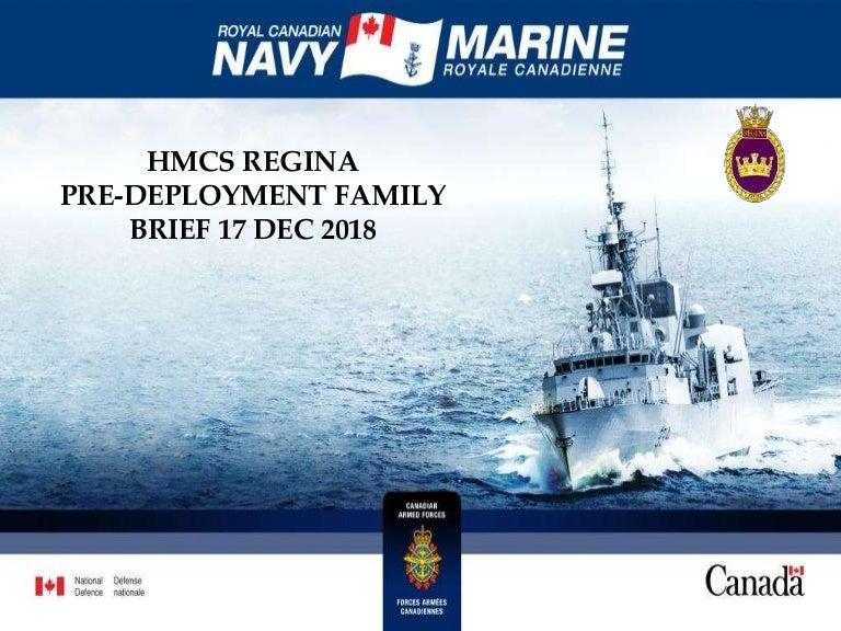 HMCS Regina - Pre-Deployment Briefing - December 2018