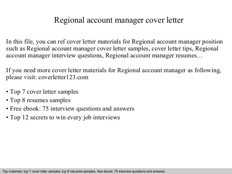 Regional account manager cover letter