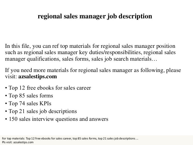 Regional Sales Manager Job Description  Template
