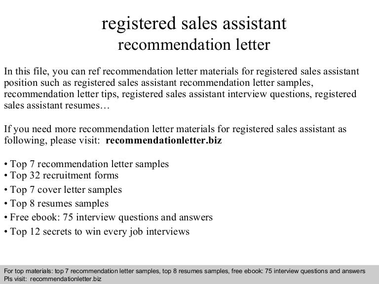 registered sales assistant recommendation letter registered sales assistant