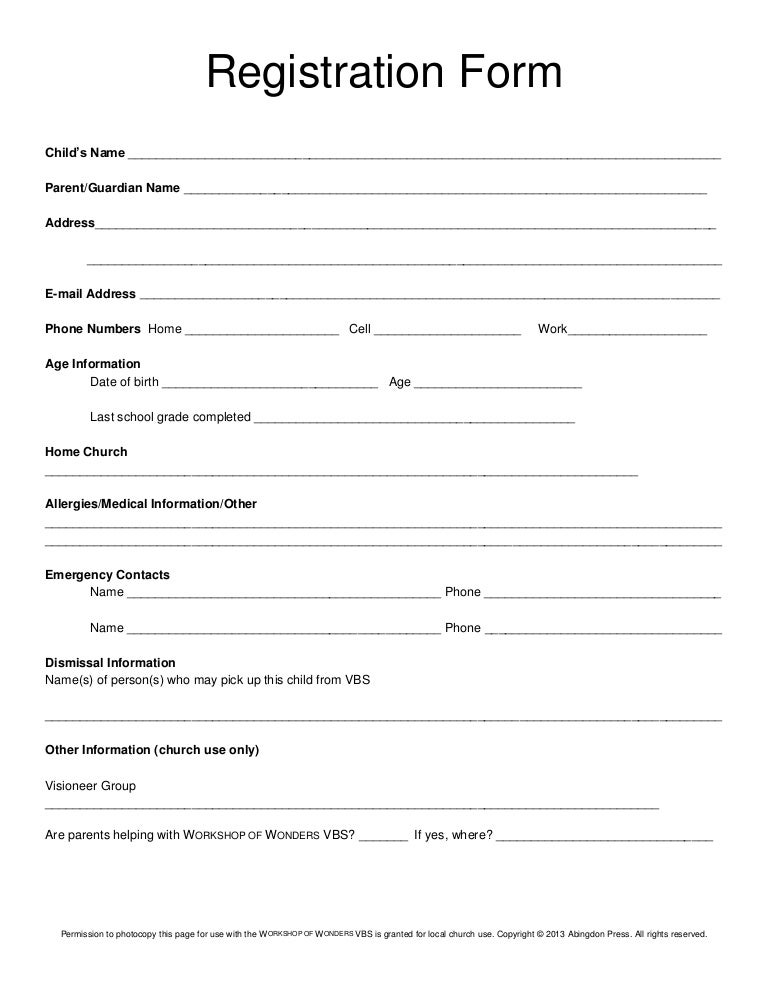 Registration form vbs for Course enrolment form template