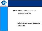 Registration of newspaper