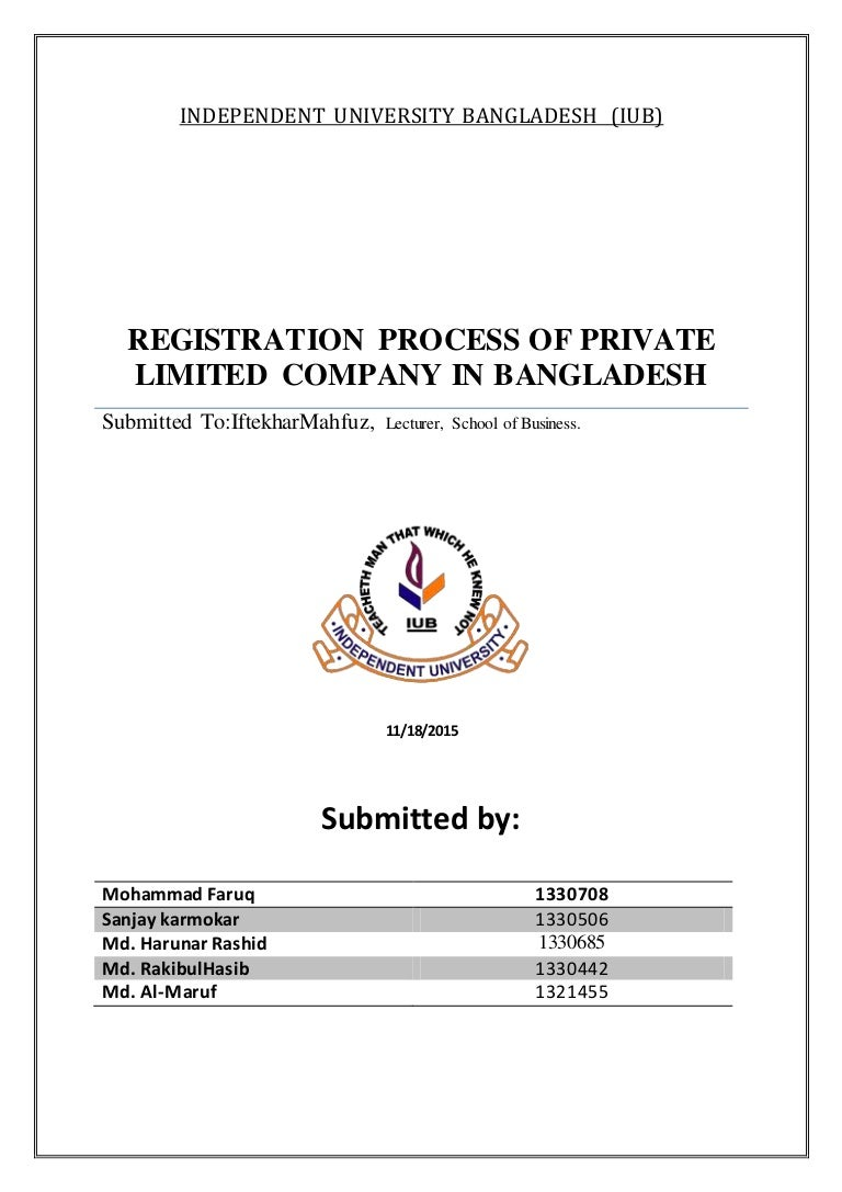 Registration process of private limited company in Bangladesh