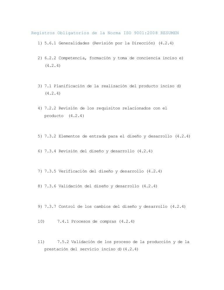 Registros obligatorios de la norma iso 9001 2008