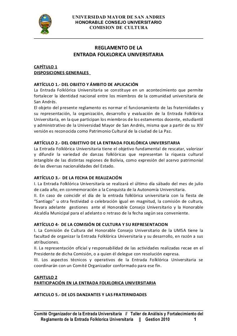 Reglamento Entrada Folklorica Universitaria