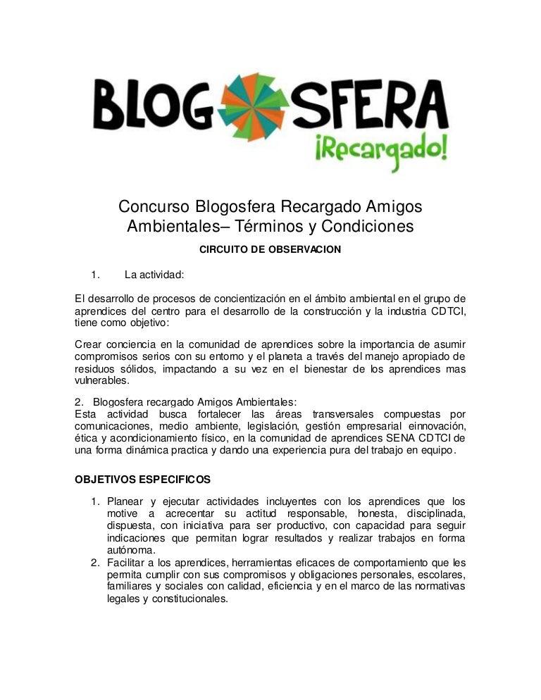 Reglamento blogosfera amigos ambientales septiembre 2014
