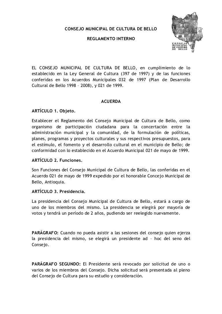 reglamento consejo municipal de cultura de bello